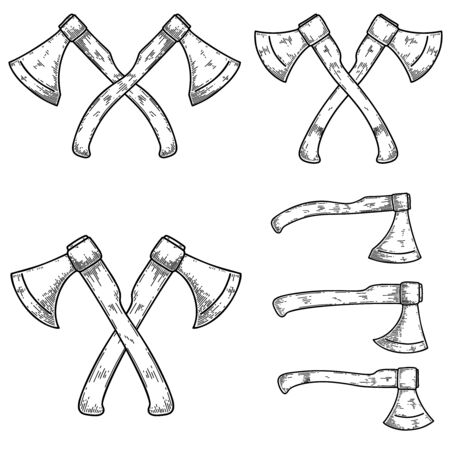Set of illustrations of lumberjack axes in engraving style. Design element for poster, label, sign, emblem, t shirt. Vector illustration Illustration
