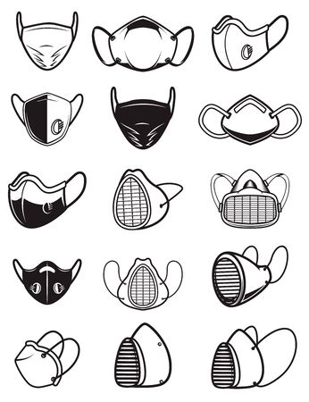 Set of icons of medical respiratory mask isolated on white background.