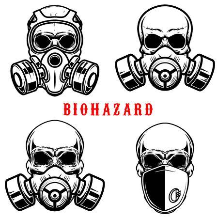 Set of illustration of human skull in gas mask isolated on white background. Biohazard. Coronavirus alert.