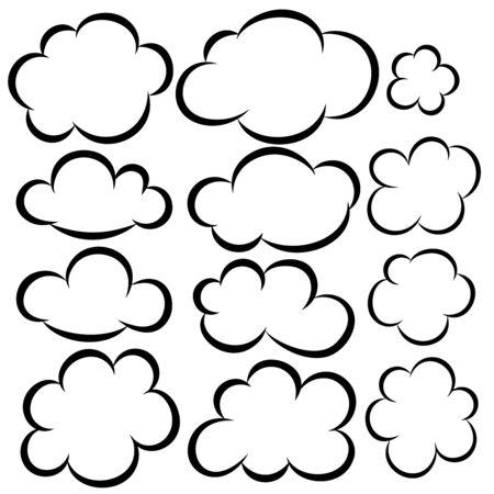 Set of cloud icons. Design elements for poster,card, banner, flyer. Vector illustration Ilustração Vetorial