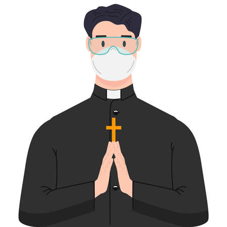 Illustration of religious priest with antivirus protection, medical masks and protective glasses. Design element for poster, label, sign, emblem, infographic. Vector illustration