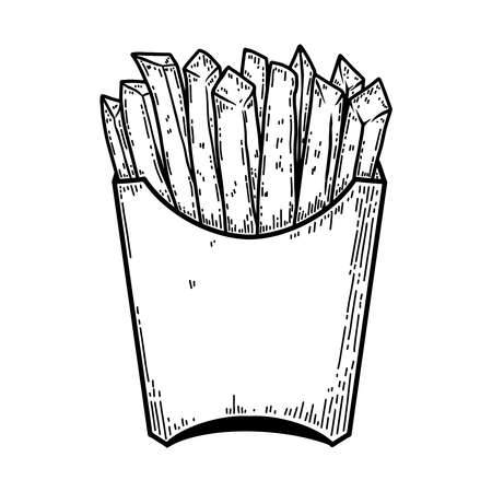 illustration of french fries in engraving style. Design element for poster, label, sign, emblem, menu. Vector illustration Illustration