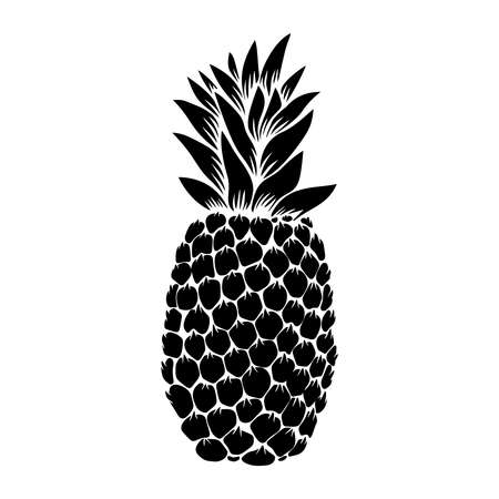 illustration of pineapple in engraving style. Design element for poster, label, sign, emblem, menu. Vector illustration