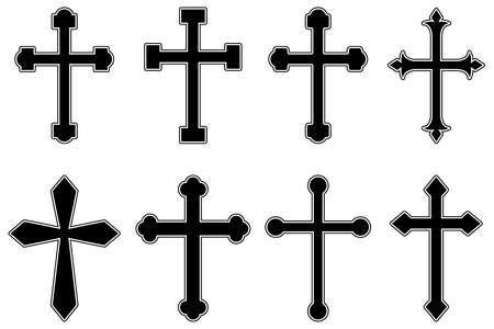 Set of illustrations of christian religious crosses. Design element for infographic, emblem, sign, poster, car, banner. Vector illustration Ilustração
