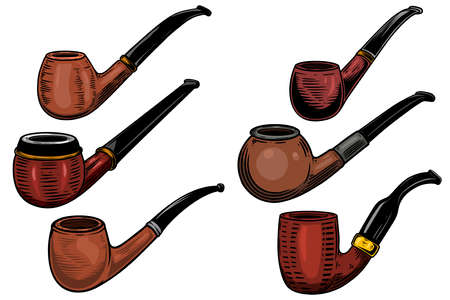 Set of illustrations of smoking pipes in engraving style. Design element for logo, label, sign, poster, t shirt. Vector illustration
