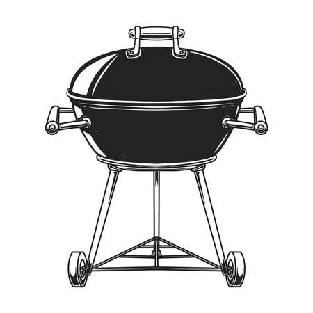 Illustration of bbq grill in engraving style isolated on white background. Design element for poster, card, banner, sign, emblem. Vector image Vetores