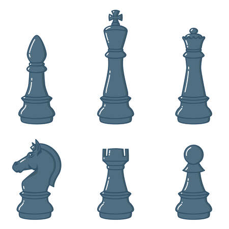 Set of chess figures in flat style. Design element for logo, label, sign, poster, t shirt. Vector illustration