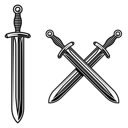 Illustration of crossed knight swords in engraving style.