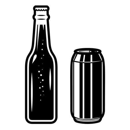 Illustration of beer bottles. Design element for logo, label, sign, poster, t shirt. Vector illustration Vectores