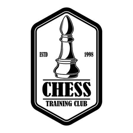 Chess club emblem template. Design element for emblem, sign, logo, label, poster, card. Vector illustration