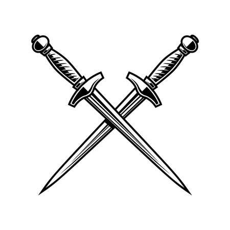 Illustration of crossed daggers in engraving style. Design element for logo, label, emblem, sign. Vector illustration Logo