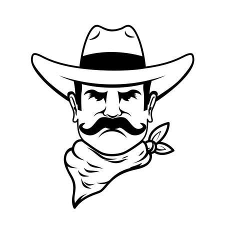 Icon of cowboy head. Design element for logo, label, sign, poster, t shirt. Vector illustration Иллюстрация