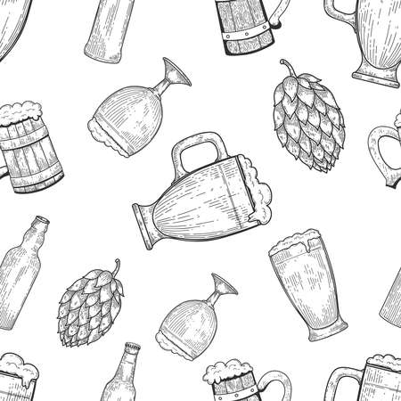 Seamless pattern with beer mugs and hop. Vintage design for poster, package, card, banner, flyer. Vector illustration
