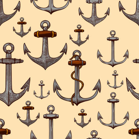 Seamless pattern with anchors illustrations in engraving style. Design element for poster, card, banner, menu, flyer. Vector illustration