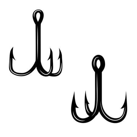 Set of illustrations of fishing hooks. Design element for logo, label, sign, poster, t shirt. Vector illustration