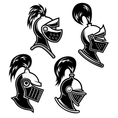 Set of Illustrations of knight helmet in engraving style. Design element for logo, label, emblem, sign. Vector illustration