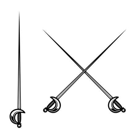 Crossed fencing swords isolated on white background. Design element for logo, label, sign, badge. Vector illustration Logo