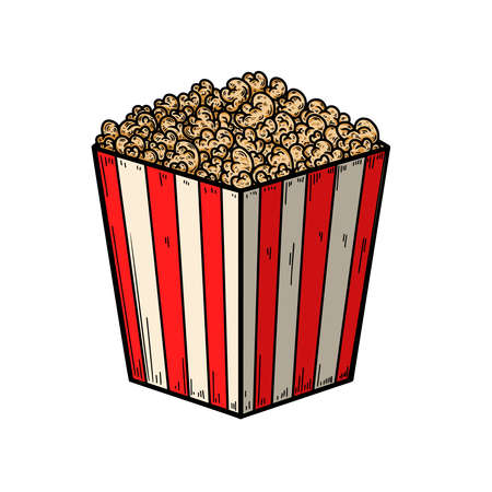 Set of Illustration of popcorn box in engraving style. Design element for logo, label, sign, poster, t shirt. Vector illustration Illusztráció