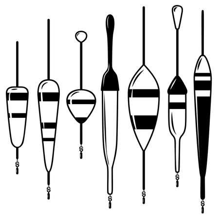 Set of illustrations of fishing floats. Design element for logo, label, emblem, sign, badge. Vector illustration 일러스트