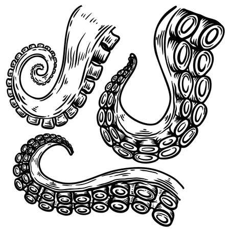Set of octopus, squid tentacles in engraving style. Design element for logo, label, emblem, sign, badge. Vector illustration Logo