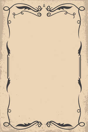 Vintage empty frame in wild west style. Vector design element for poster, card, banner, flyer.