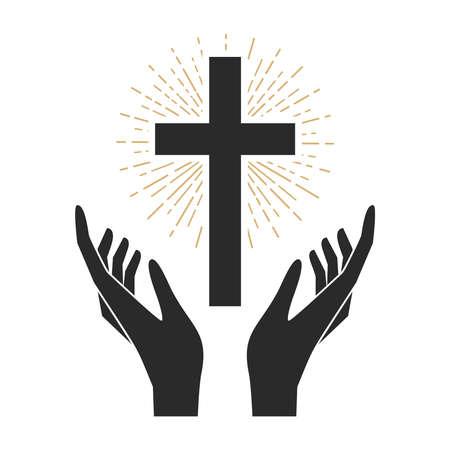 Hands with shining holy cross. Design element for logo, label, emblem, sign, badge. Vector illustration