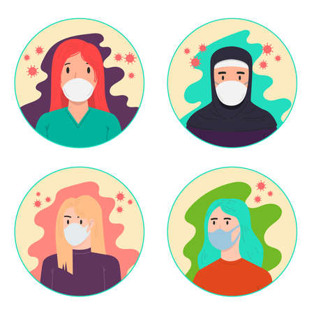 Set of Illustrations of a woman's with medical breathing mask in flat style. Anti coronavirus pandemic. Design element for poster, card, banner, flyer. Vector illustration