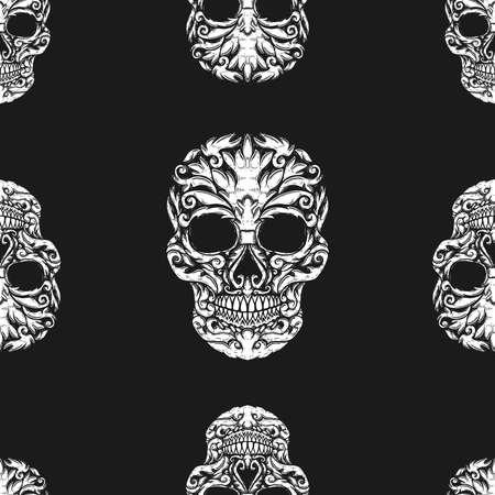 Seamless pattern with sugar skulls. Design element for poster, card, banner, t shirt. Vector illustration