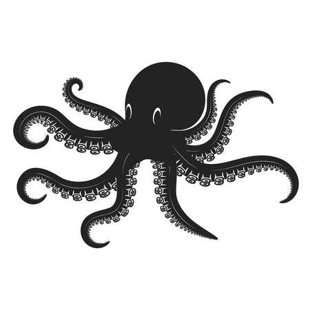 Illustration of octopus in engraving style. Design element for logo, label, sign, poster, t shirt. Vector illustration Logo