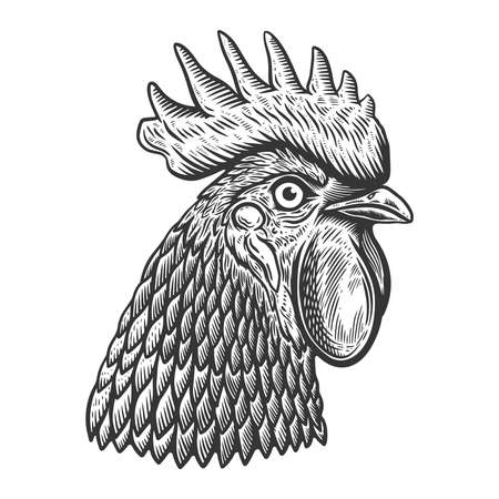 Illustration of rooster head in engraving style. Design element for logo, label, sign, poster, t shirt. Vector illustration