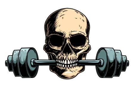 Illustration of human skull with barbell in his teeth. Design element for poster, card, banner, emblem, t shirt. Vector illustration 向量圖像