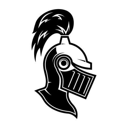 Illustration of knight helmet in engraving style. Design element for logo, label, emblem, sign. Vector illustration