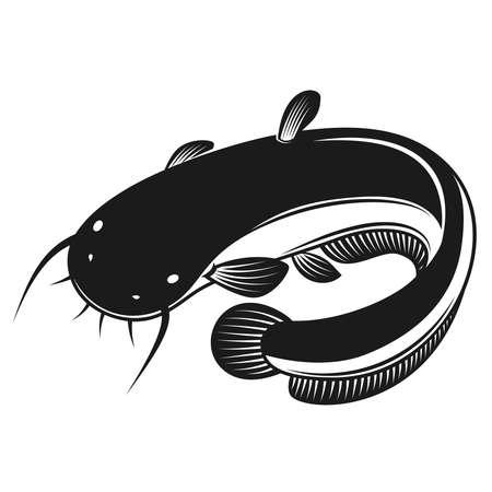 Illustration of catfish in engraving style. Design element for logo, label, sign, poster, t shirt. Vector illustration