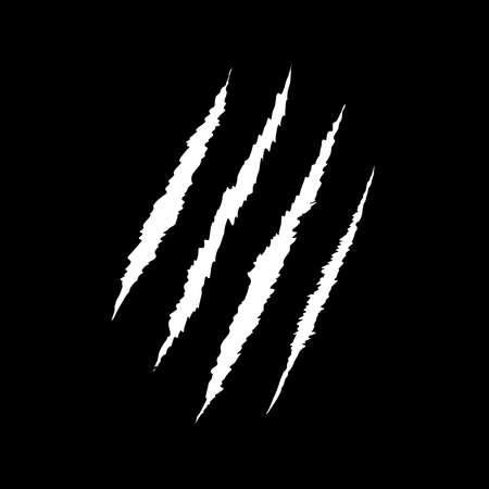 Claws scratch on black background. Design element for logo, label, sign, poster, t shirt. Vector illustration