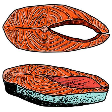 Set of illustration of salmon meat cuts in engraving style. Design element for poster, label, sign, emblem, menu. Vector illustration