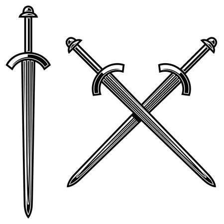 Illustration of crossed knight swords in engraving style. Design element for logo, label, emblem, sign. Vector illustration