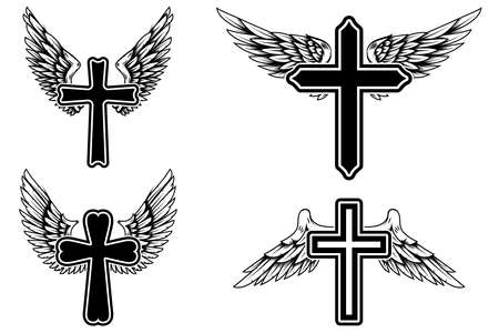 Set of illustrations of winged christian religious crosses. Design element for infographic, emblem, sign, poster, car, banner. Vector illustration