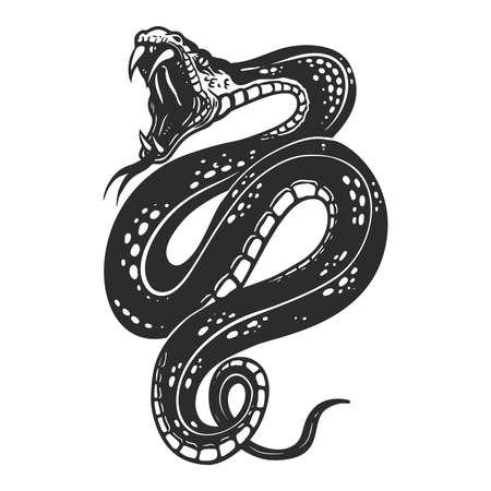 Illustration of poisonous snake in engraving style. Design element for logo, label, emblem, sign, badge. Vector illustration Logo