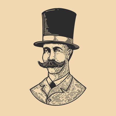 Illustration of gentleman in vintage hat in engraving style. Design element for logo, label, emblem, sign, badge. Vector illustration