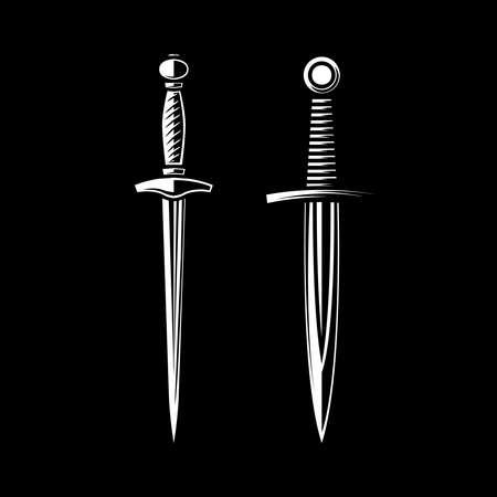 Set of Illustrations of daggers in engraving style. Design element for logo, label, emblem, sign. Vector illustration Illusztráció