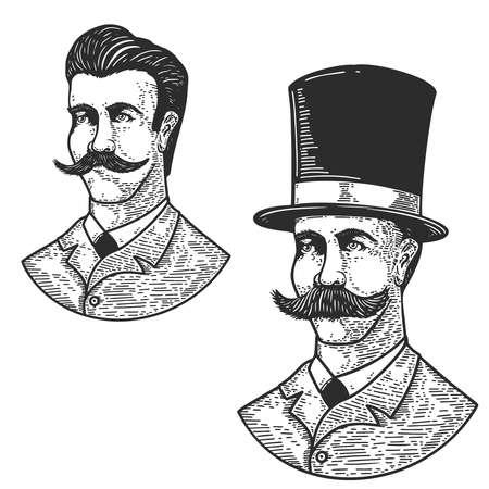 Set of illustration of gentleman in vintage hat in engraving style. Design element for logo, label, emblem, sign, badge. Vector illustration 矢量图像