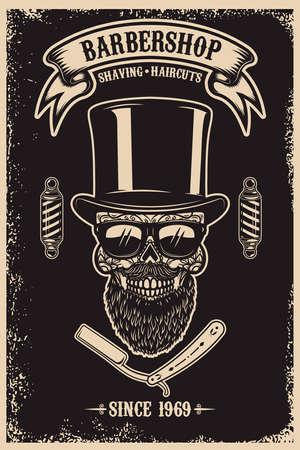 Barbershop poster template. Bearded mexican sugar skull and barber blades. Design element for poster, card, banner, t shirt, logo, emblem. Vector illustration