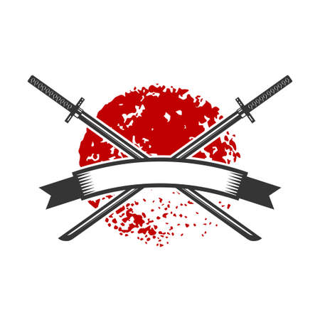 Emblem with crossed katana swords. Design element for logo, label, sign, poster, t shirt. Vector illustration Ilustração