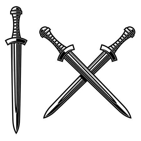 Illustration of crossed daggers in engraving style. Design element for logo, label, emblem, sign. Vector illustration