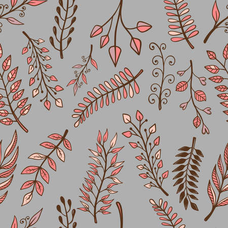 Seamless pattern with doodle style floral elements. Design element for poster, card, banner, t shirt. Vector illustration Vectores