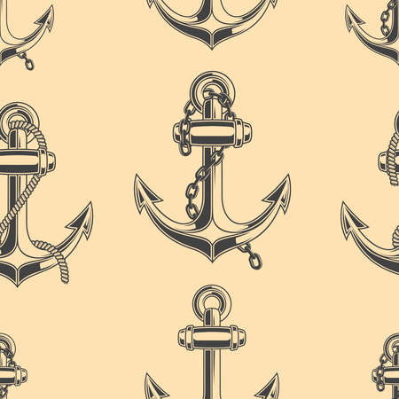 Seamless pattern with anchors illustrations. Design element for poster, card, banner, menu, flyer. Vector illustration 일러스트