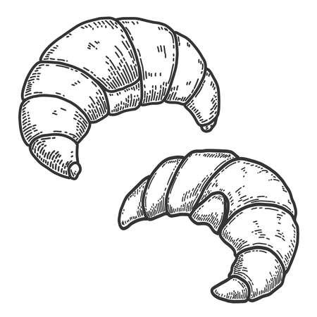 Set of Illustrations of croissants in engraving style. Design element for logo, label, sign, poster, t shirt. Vector illustration
