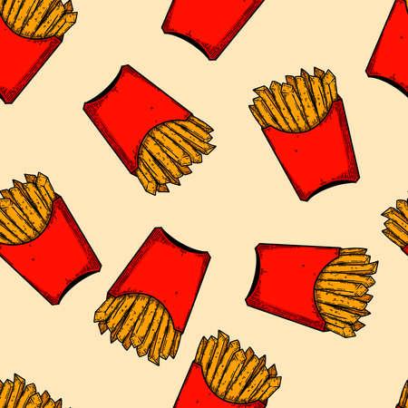 Seamless pattern with french fries illustrations. Design element for poster, card, banner, menu, flyer. Vector illustration Ilustração