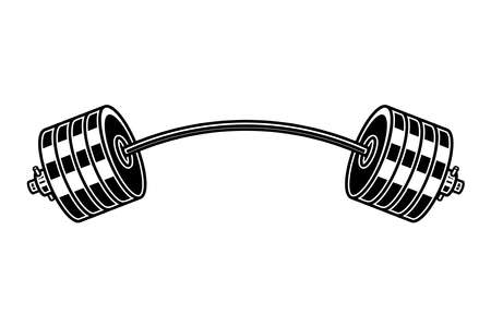 Illustration of heavy athletic barbell in engraving style. Vector Illustration