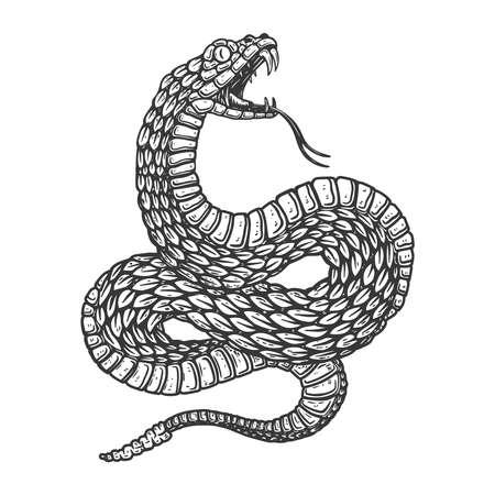 Illustration of poisonous snake in engraving style. Design element for label, sign, poster, t shirt. Vector illustration Vettoriali